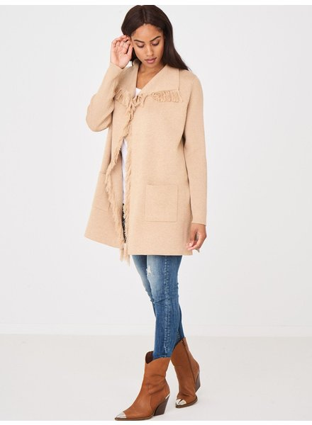 REPEAT cashmere Cotton cardigan long camel