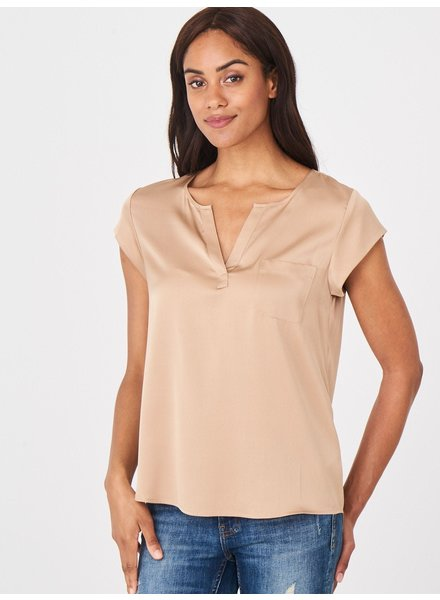 REPEAT cashmere Silk top camel
