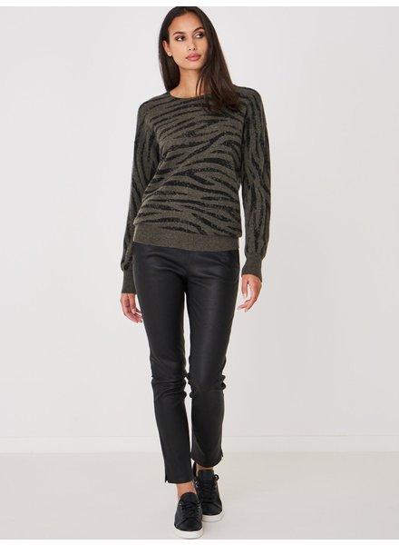 REPEAT cashmere Cashmere trui khaki tijger