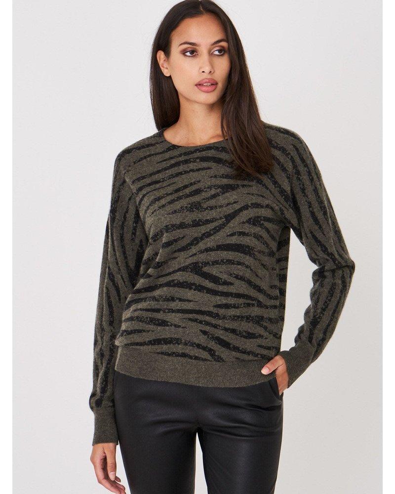 REPEAT cashmere REPEAT cashmere trui khaki tijger