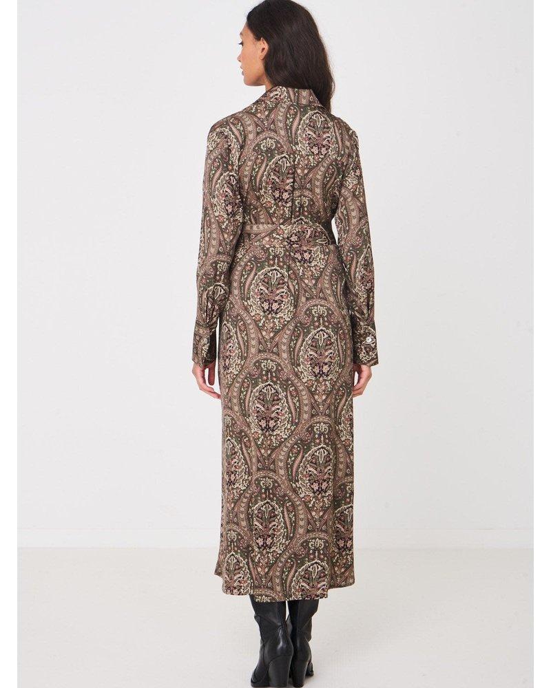 REPEAT cashmere REPEAT silk dress paisley khaki