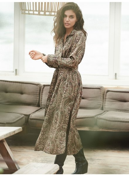 REPEAT cashmere Silk dress paisley khaki
