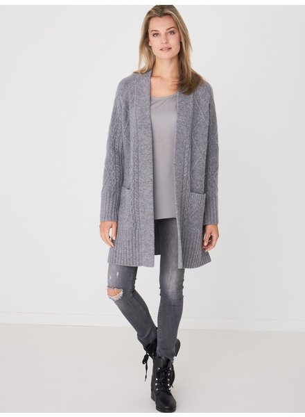 REPEAT cashmere Cardigan baby wool lt grey