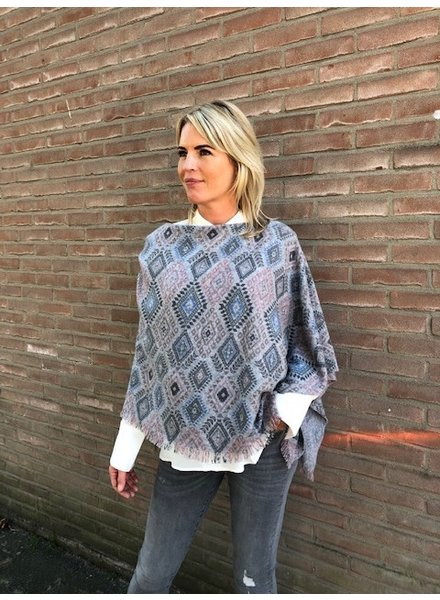 REPEAT cashmere Cashmere poncho ikat grey