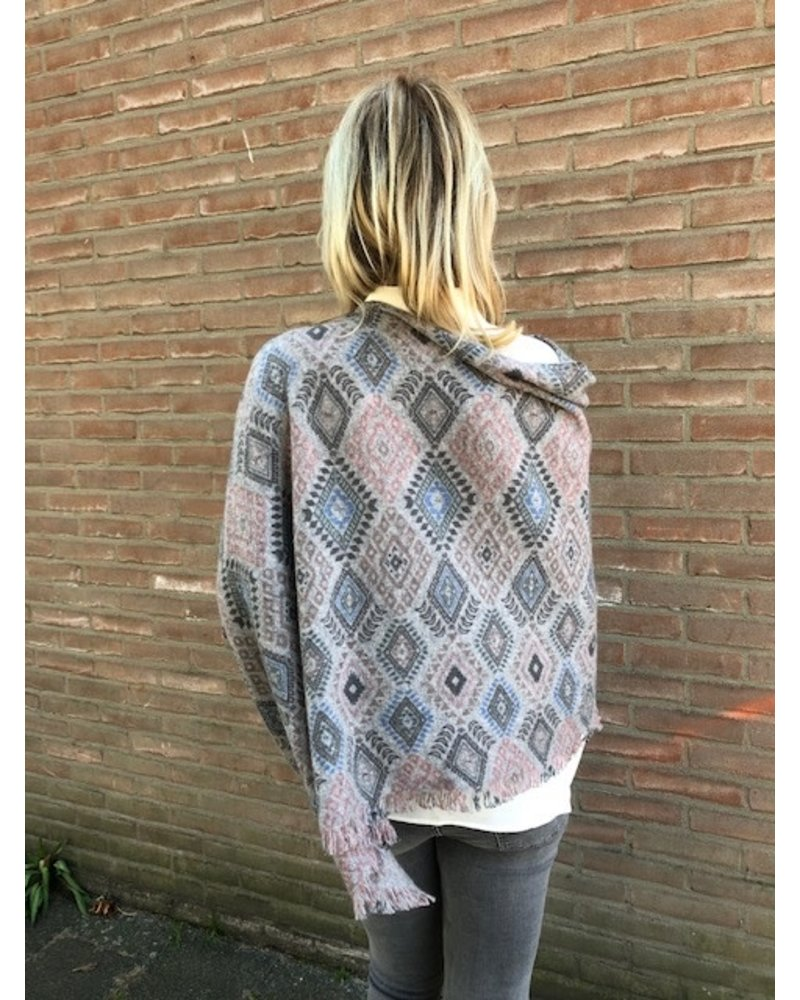 REPEAT cashmere REPEAT cashmere poncho ikat grey
