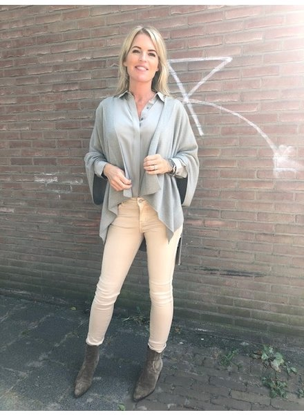 REPEAT cashmere Cashmere poncho cardigan taupe