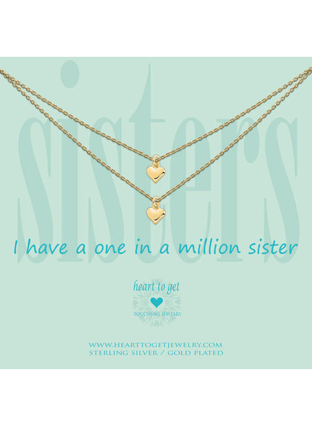 Heart To Get Necklace 2 chains heart sisters gold