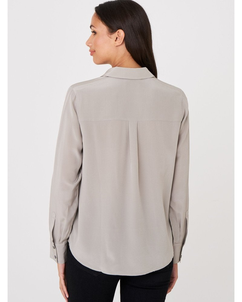 REPEAT cashmere REPEAT silk blouse taupe