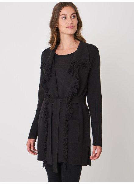REPEAT cashmere Cotton cardigan long black
