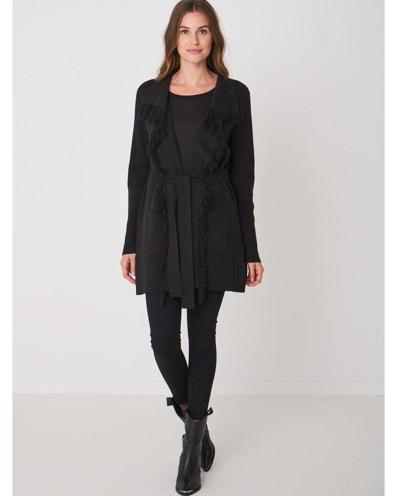 REPEAT cashmere REPEAT cotton cardigan long black
