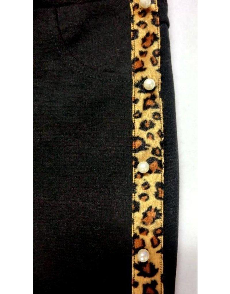 Tregging met Leopard print en parels