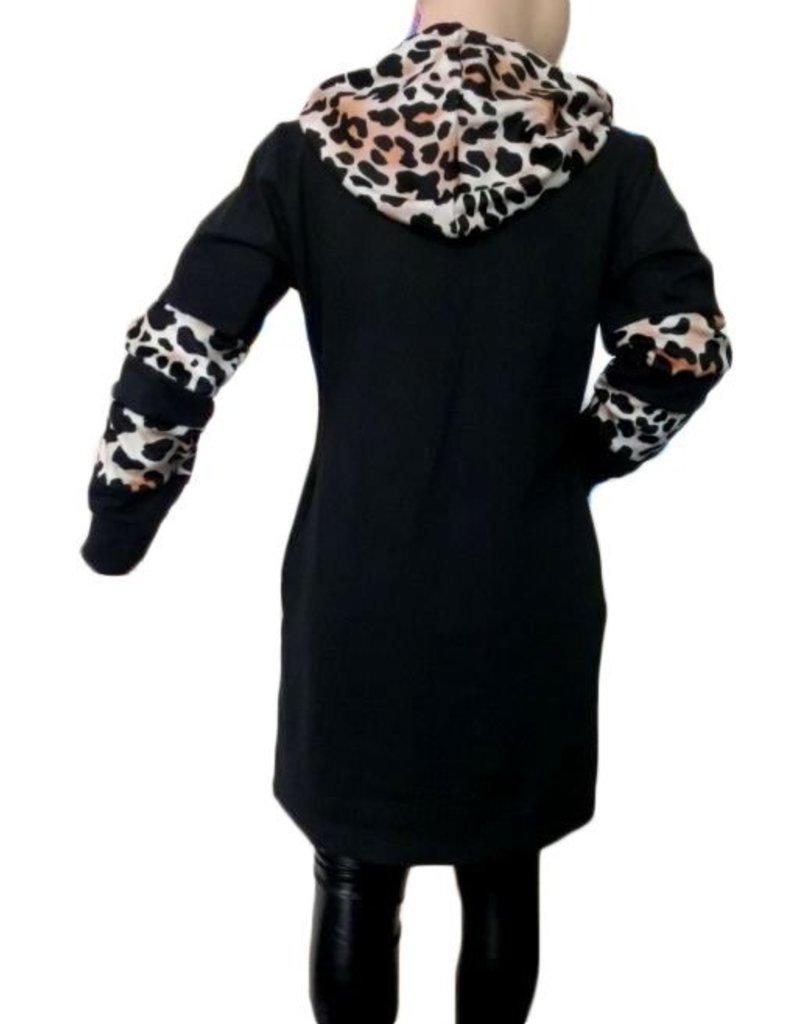 Tuniek met leopard print mosterd zwart