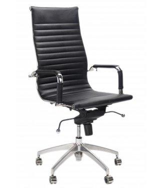 Leren design bureaustoel Upton zwart
