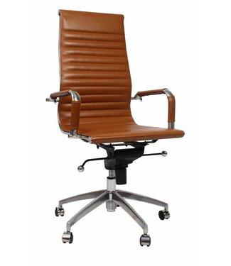 Leren design bureaustoel Upton cognac