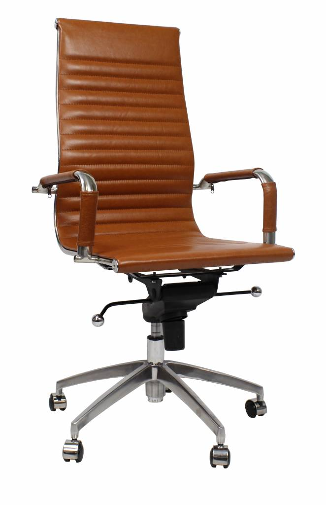 Ledere Bureau Stoel.Leren Design Bureaustoel Upton Cognac Absurd Lage Prijs