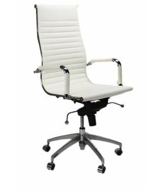 Dimehouse Leren design bureaustoel Upton wit