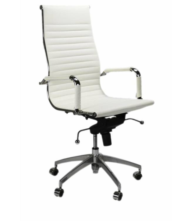 Wit Lederen Bureaustoel.Leren Design Bureaustoel Upton Wit