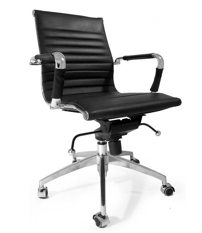 Ongebruikt 100% leren design bureaustoel Soho zwart | MEGA STUNTDEAL - Dimehouse LK-72