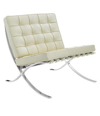 Expo fauteuil creme premium leer