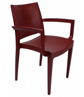 Design wachtkamer-/kantinestoel Muzeval bordeaux rood