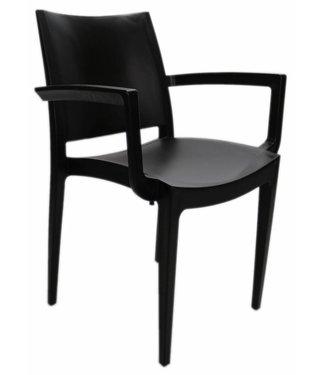 Design wachtkamer-/kantinestoel Muzeval zwart