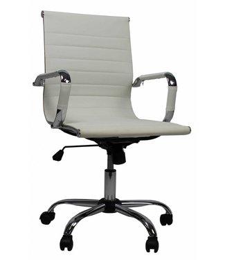Design bureaustoel Hunter lage rug wit