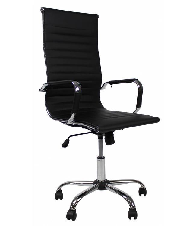Bureaustoel 60 Cm Zithoogte.Bureaustoel Modern Design Mile Hoge Rug Zwart Mega Deal Dimehouse