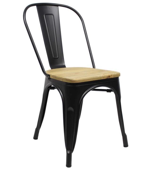 Industriële retro stoel Blade zwart met hout