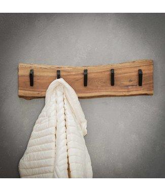 Kapstok massief hout verticaal 5 haken