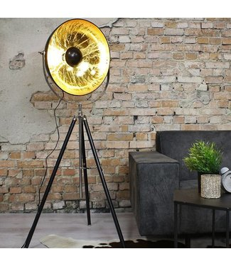 Vloerlamp Saar zwart-goud