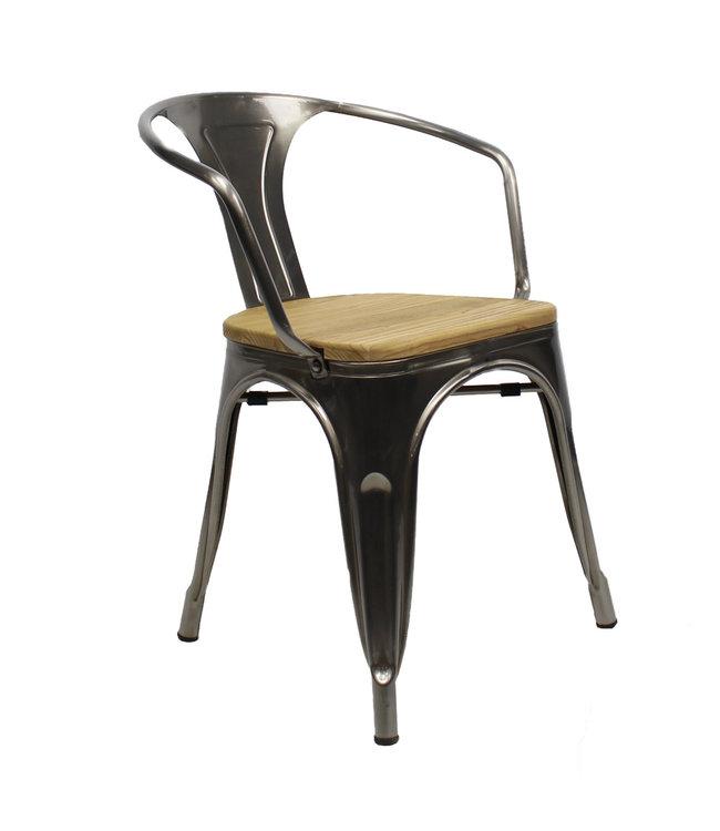 Industriële retro stoel met arm Blade hout metaal