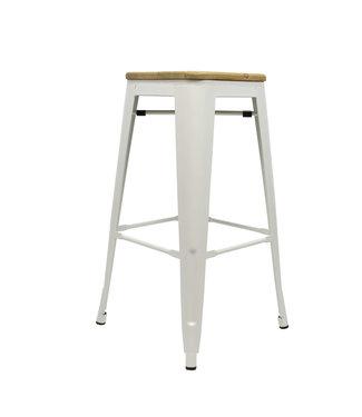 Industriële retro kruk Blade wit met hout