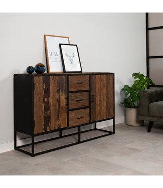 Industrieel dressoir Rayan robuust hout 140 cm