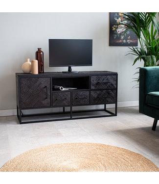 Industrieel TV-meubel Dulce zwart visgraat