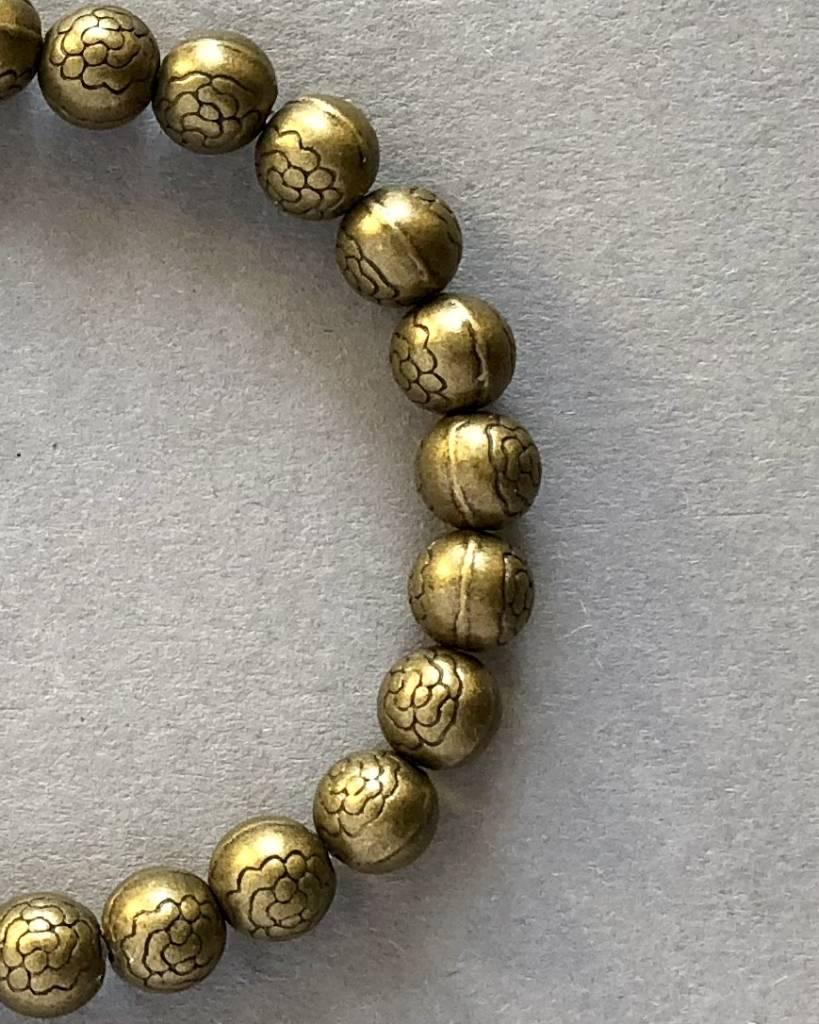 Unisex Bracelet: Lotus flowers - brass - 6 mm - round ...