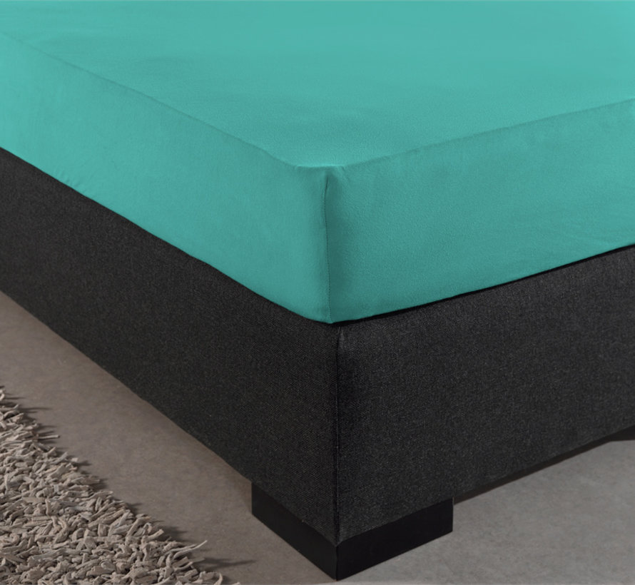 Hoeslaken Dubbel Jersey - Extra Hoog - Turquoise