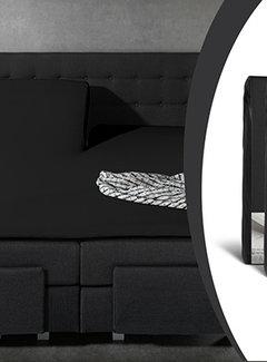 Sleeptime 2-Pack: Splittopper Hoeslaken Jersey - Zwart