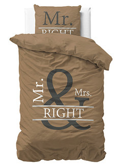 Dreamhouse Bedding Mr and Mrs Right 2 - Taupe