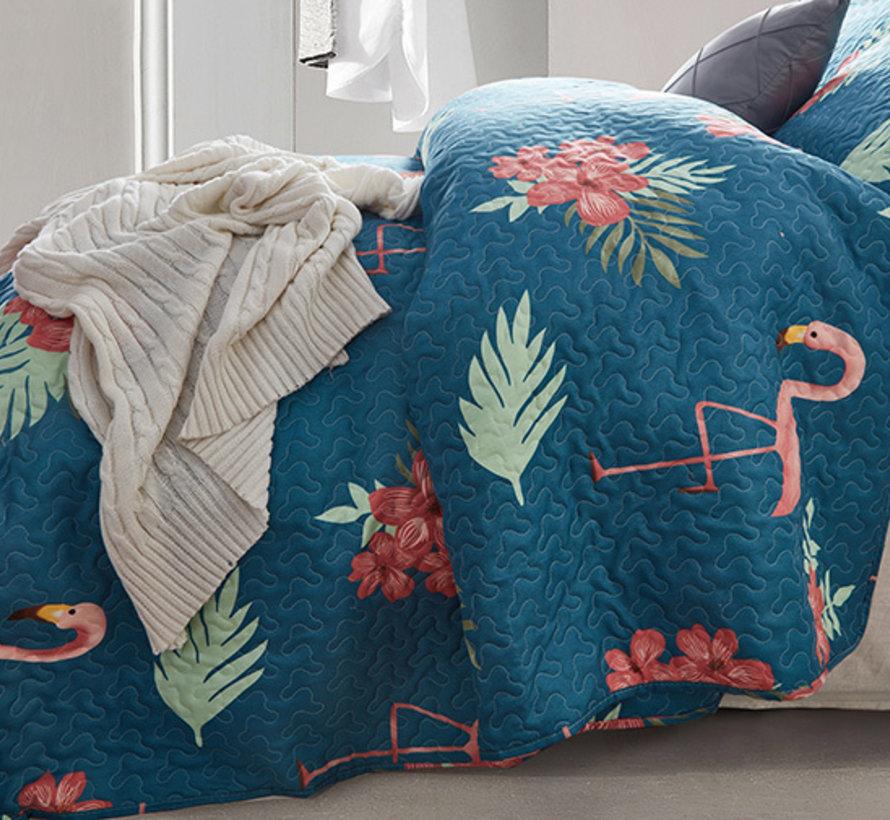 Bedsprei - Flamingo - Blauw