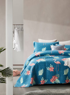 Dreamhouse Bedding Bedsprei - Flamingo - Blauw