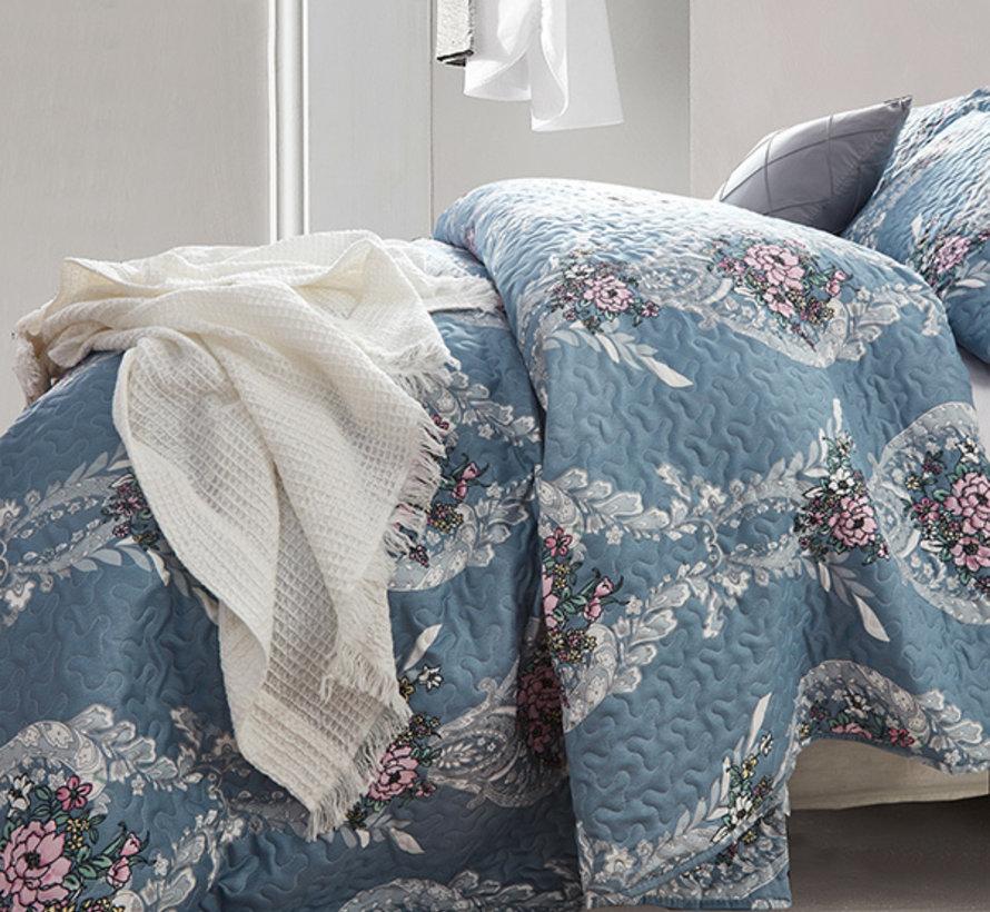 Bedsprei - Retro Flower - Blauw
