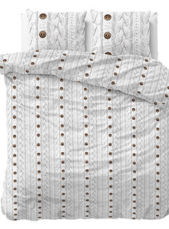 Sleeptime Knitty Buttons - Flanel - Wit