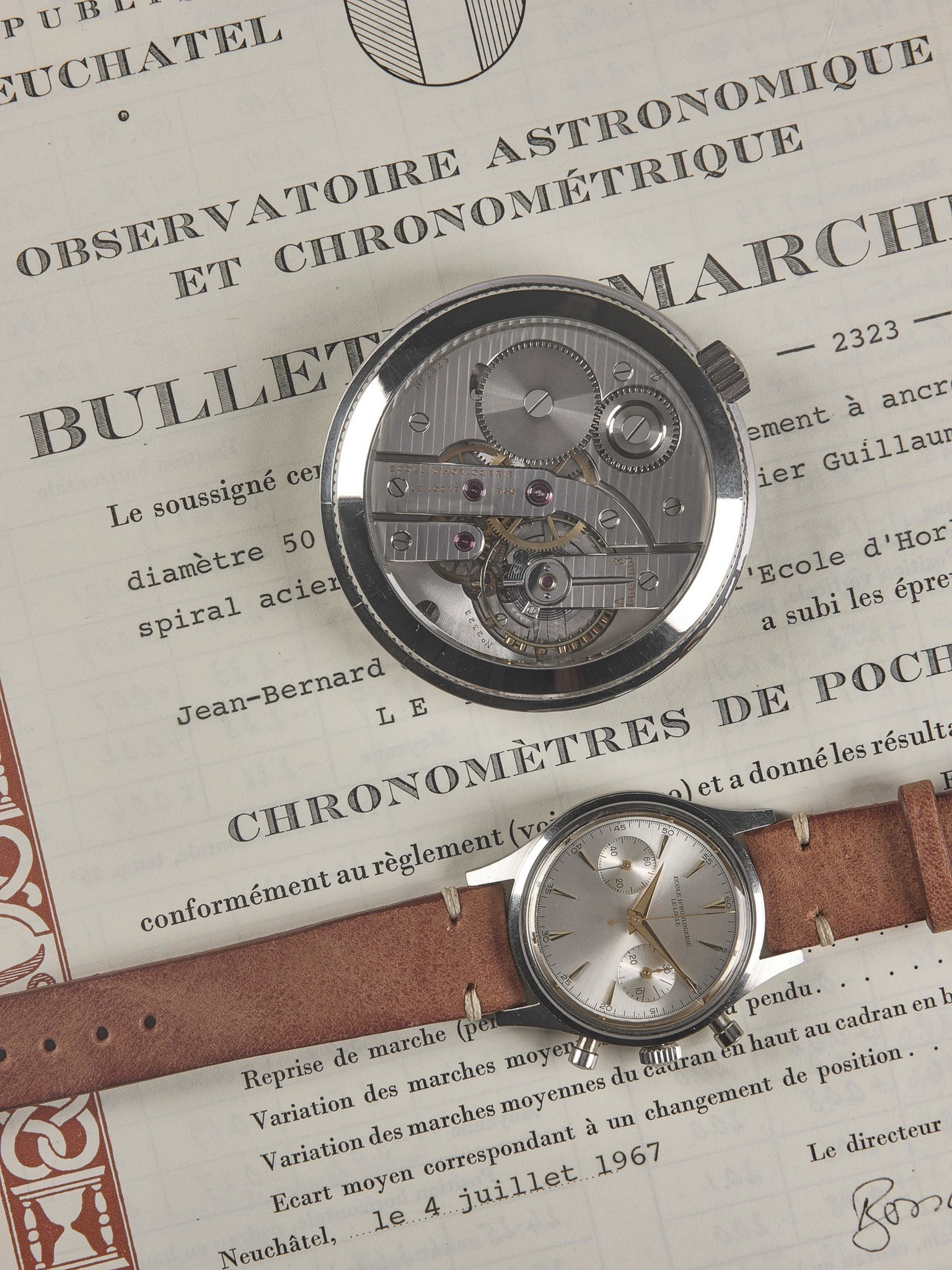Ecole d'Horlogerie Le Locle observatory chronometer pocket watch and wristwatch full set