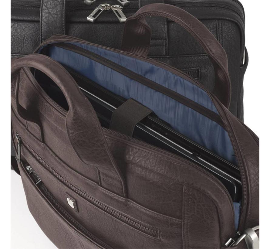 RFID Anti Skim Laptoptas 15,6 inch 2 Vakken Bruin