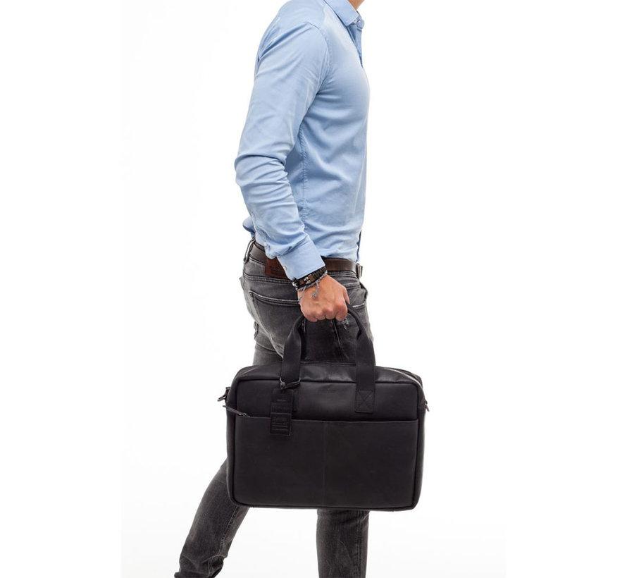 Burkely Hunter Leren Laptoptas 15,6 inch Zwart
