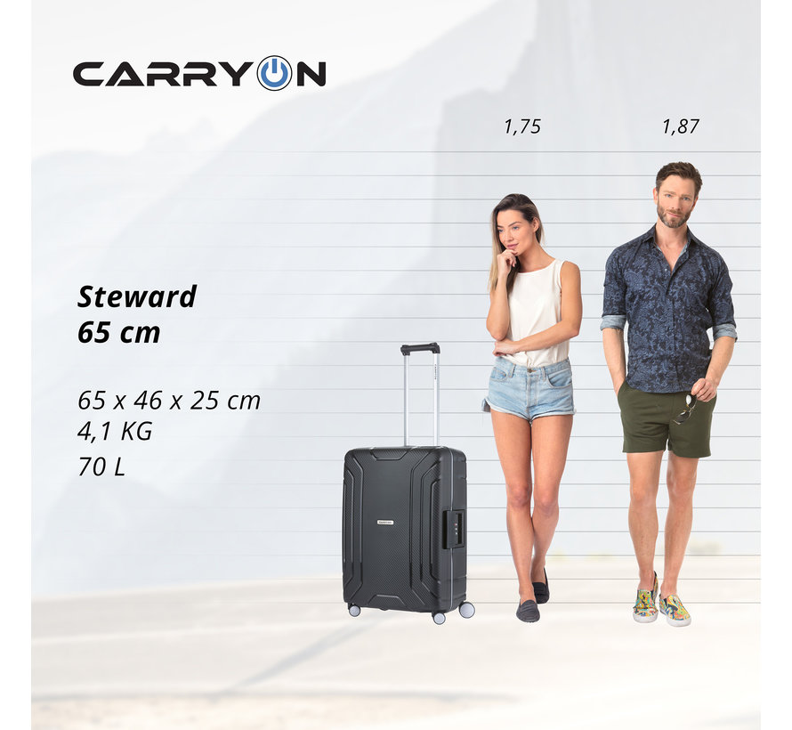 CarryOn Harde Koffer Medium Steward 65 Black
