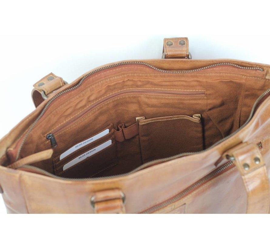 Bear Design Dames Laptoptas Cow Lovato Cognac