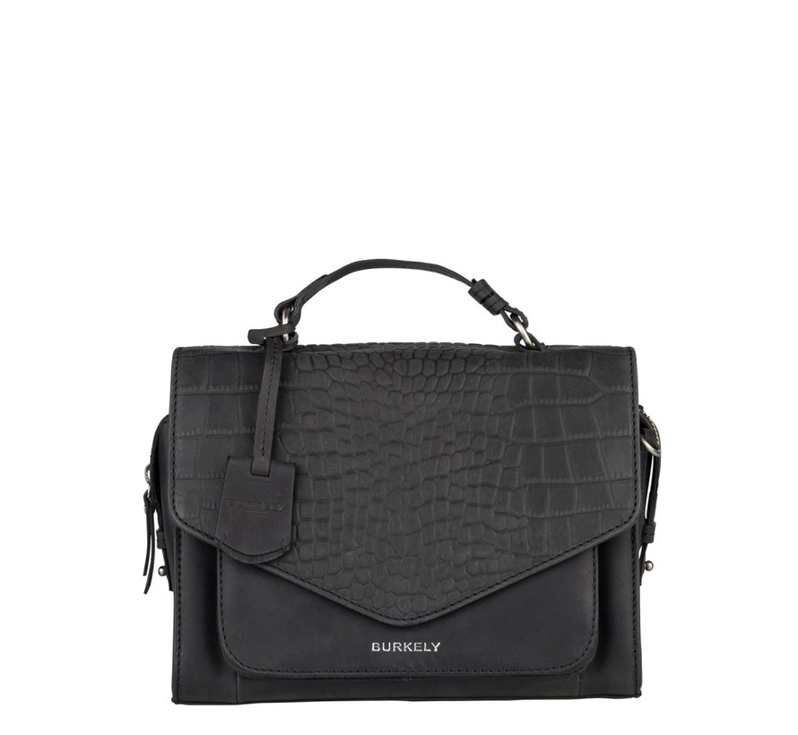 Burkely Tas Croco Cody City Bag Zwart
