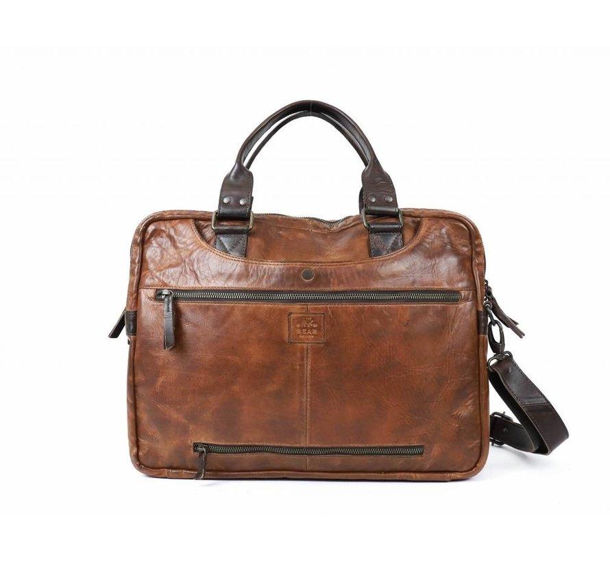 Bear Design Leren Laptoptas Cow Lovato Cognac/Bruin