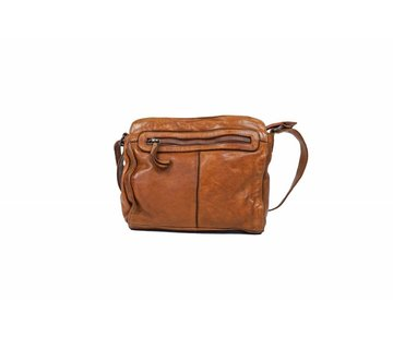 Bear Design Crossbody Tas Cow Lavato Cognac